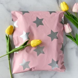 25 10X13 Pink Silver Star Poly Mailers PRICE FIRM